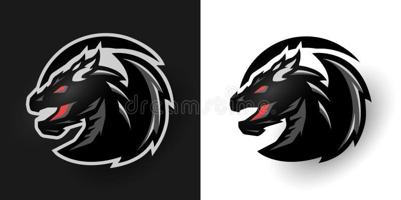 Round dragon logo. Two options. royalty free illustration