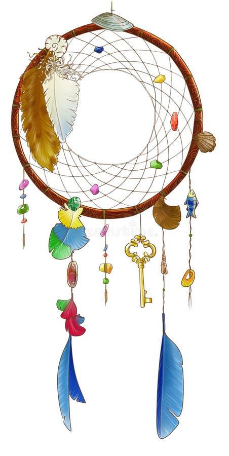 Round dreamcatcher z kluczem ilustracja wektor