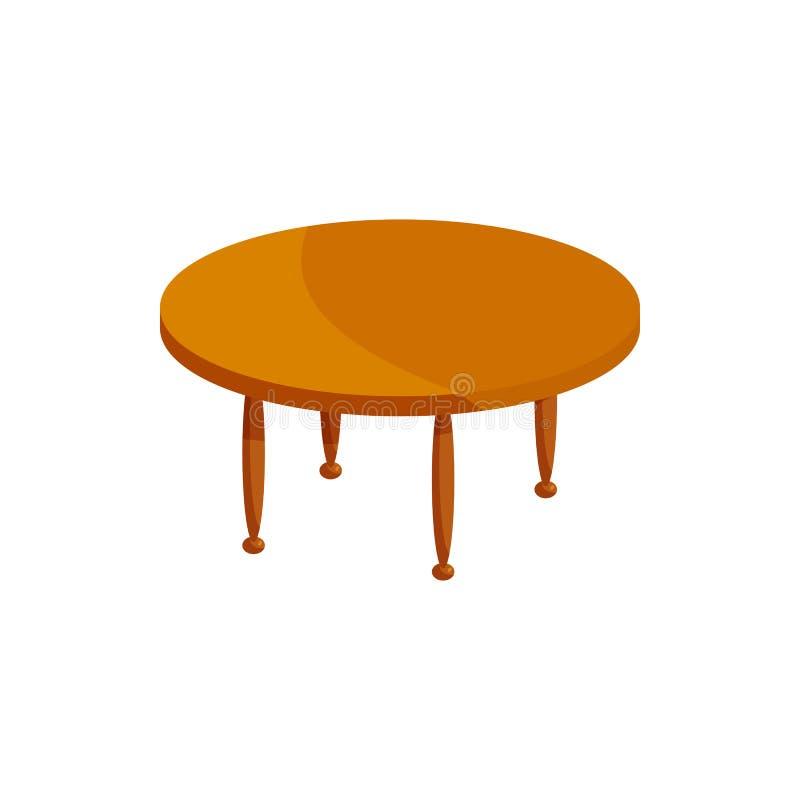 Round drewniana stołowa ikona, kreskówka styl ilustracji