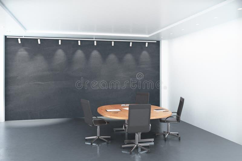 Download Round Drewniany Stół Z Krzesłami Z Pustym Dużym Blackboard W Conf Ilustracji - Ilustracja złożonej z pusty, brainstorming: 65225135