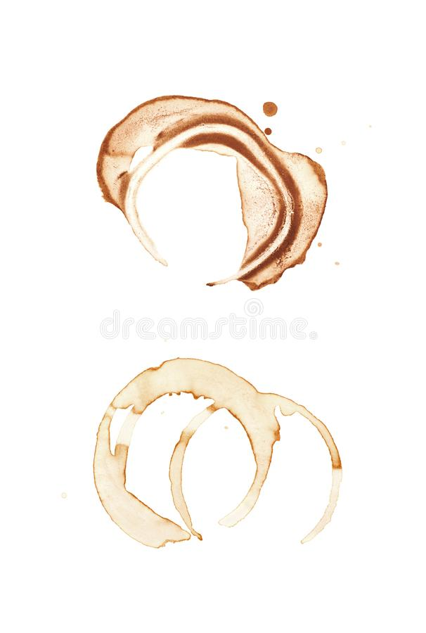 Round coffee stain isolated. Round dried coffee stain isolated over the white background , set of several images royalty free stock photography