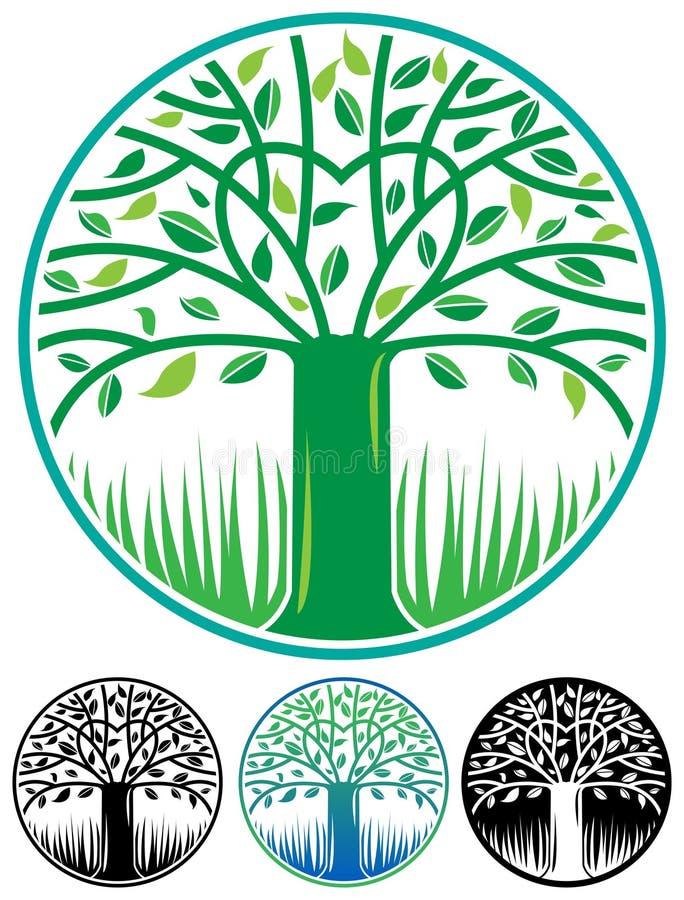 Round drzewny logo ilustracja wektor