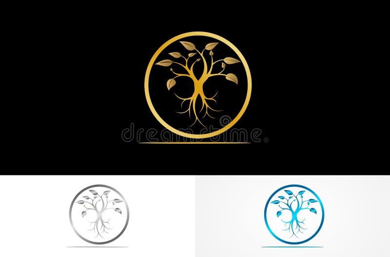 Round drzewny złocisty logo royalty ilustracja