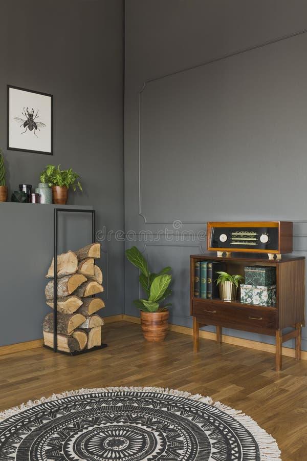 Round dywanik w popielatym retro żywym izbowym wnętrzu z radiem na kabinie zdjęcie royalty free
