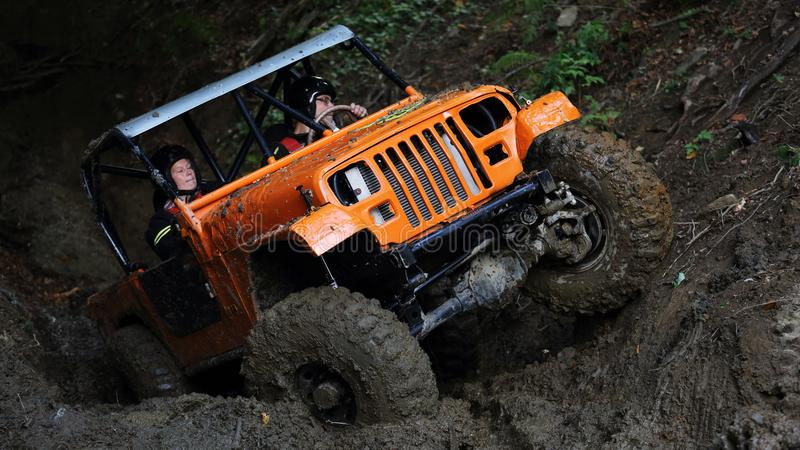 Offroad trial car competition. Round in 2017 edition of combined Slovakian and Czech championship in Offroad trial competition held in Valcianska dolina Valca royalty free stock images