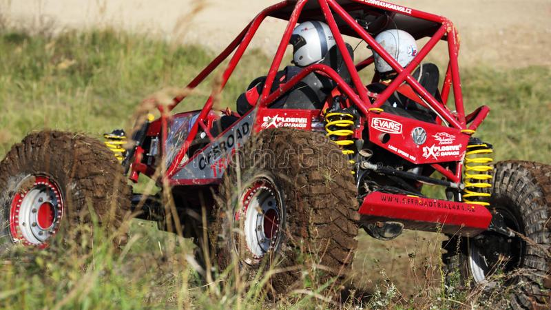 Offroad trial car competition. Round in 2017 edition of combined Slovakian and Czech championship in Offroad trial competition held in Valcianska dolina Valca stock image