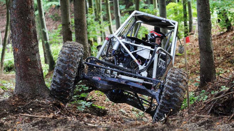 Offroad trial car competition. Round in 2017 edition of combined Slovakian and Czech championship in Offroad trial competition held in Valcianska dolina Valca stock photos