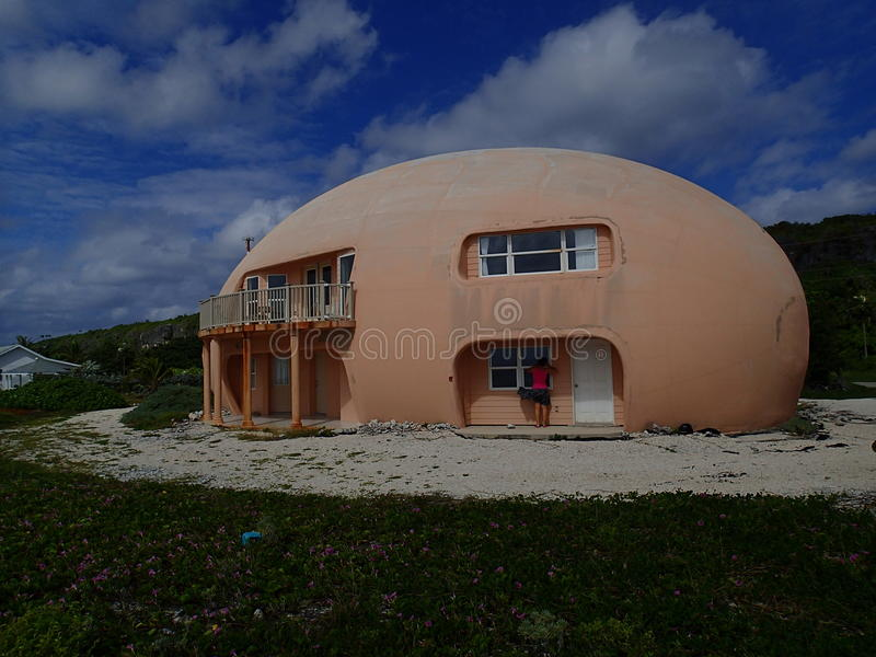Round Egg house on Cayman Brac. Fascinating Egg house, now abandoned after a hurricane on Cayman Brac, Cayman Islands stock images