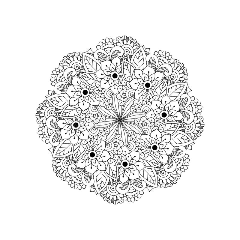 Round element for coloring book. Black and white ethnic henna pa stock illustration