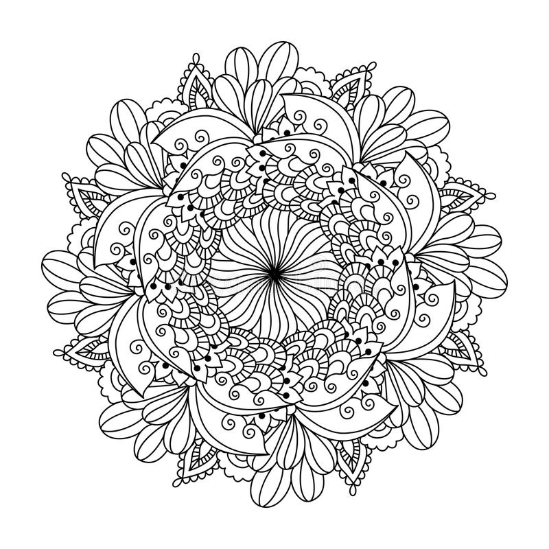 Round element for coloring book. vector illustration