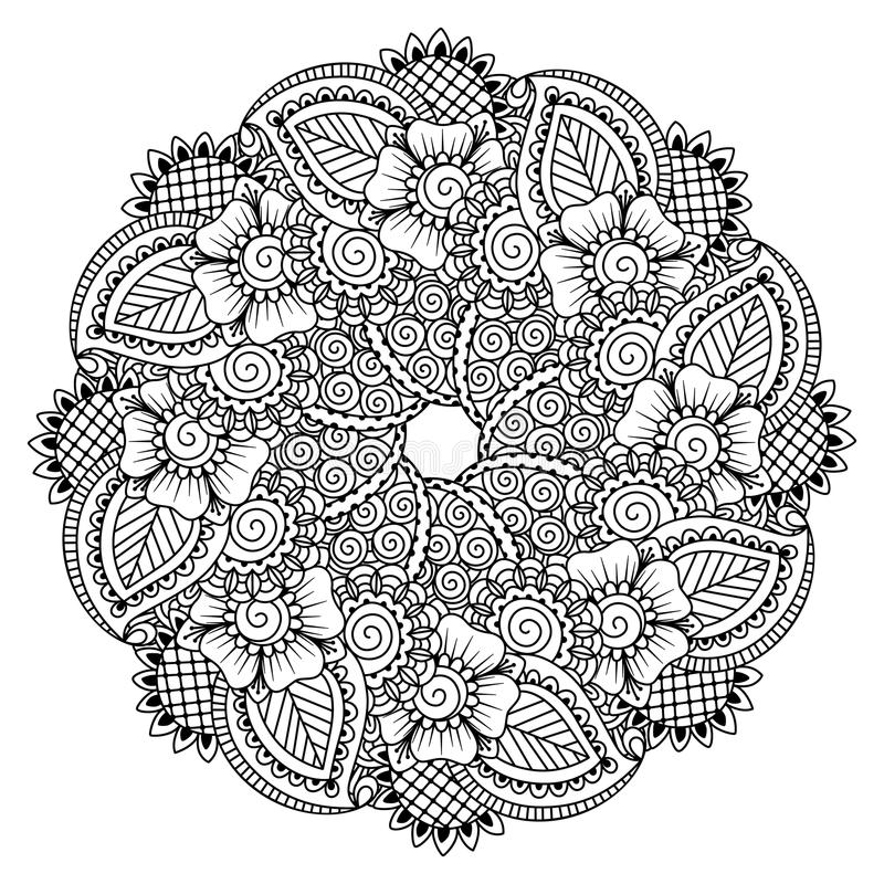 Round element for coloring book. stock illustration