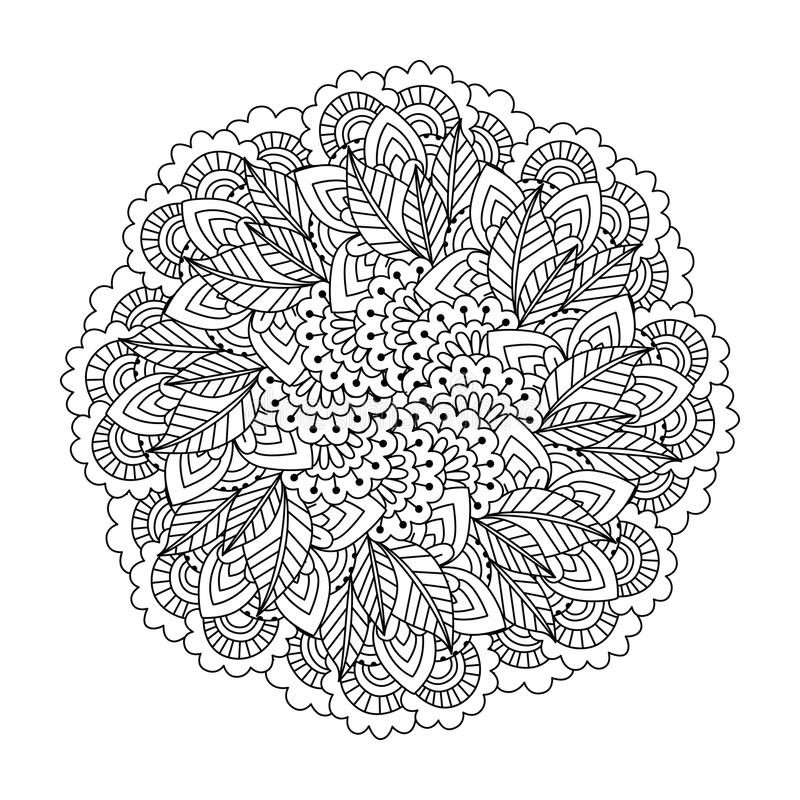 Round element for coloring book. Black and white ethnic henna pattern. Floral mandala.Black and white pattern. Ethnic henna hand drawn background for coloring royalty free illustration