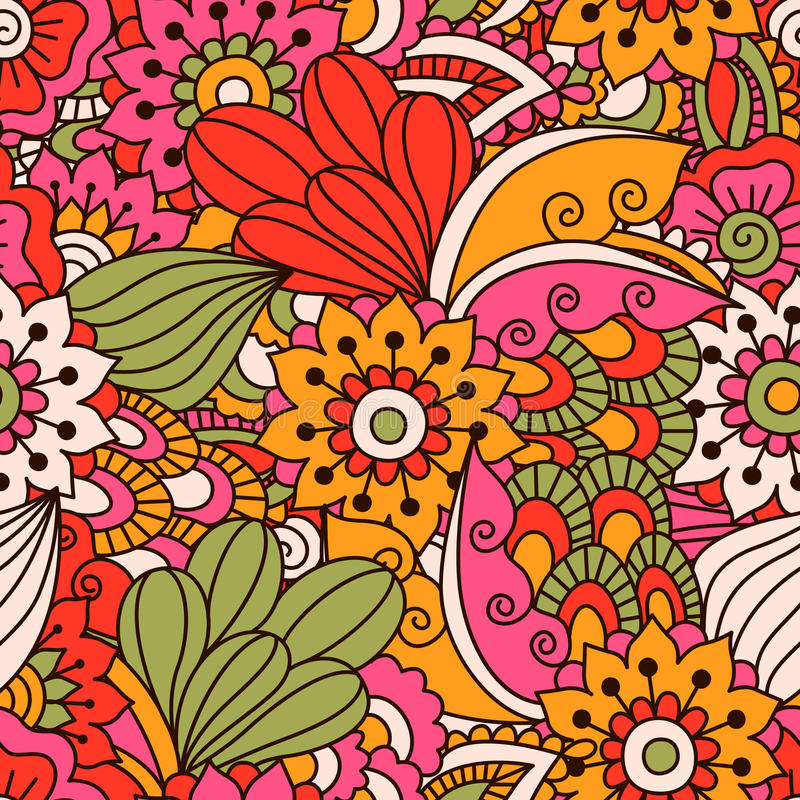 Round element for coloring book. Black and white floral pattern. royalty free illustration