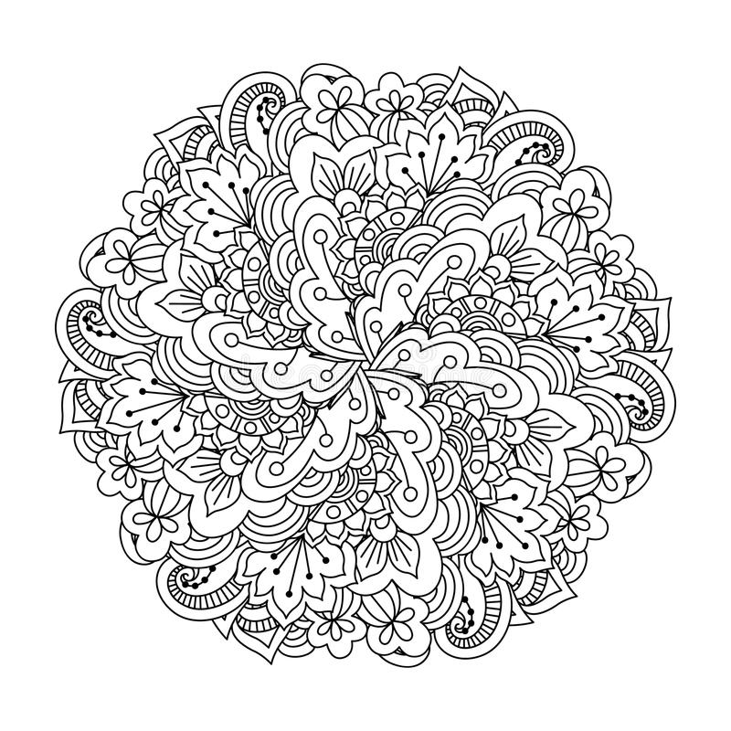 Round element for coloring book. royalty free illustration