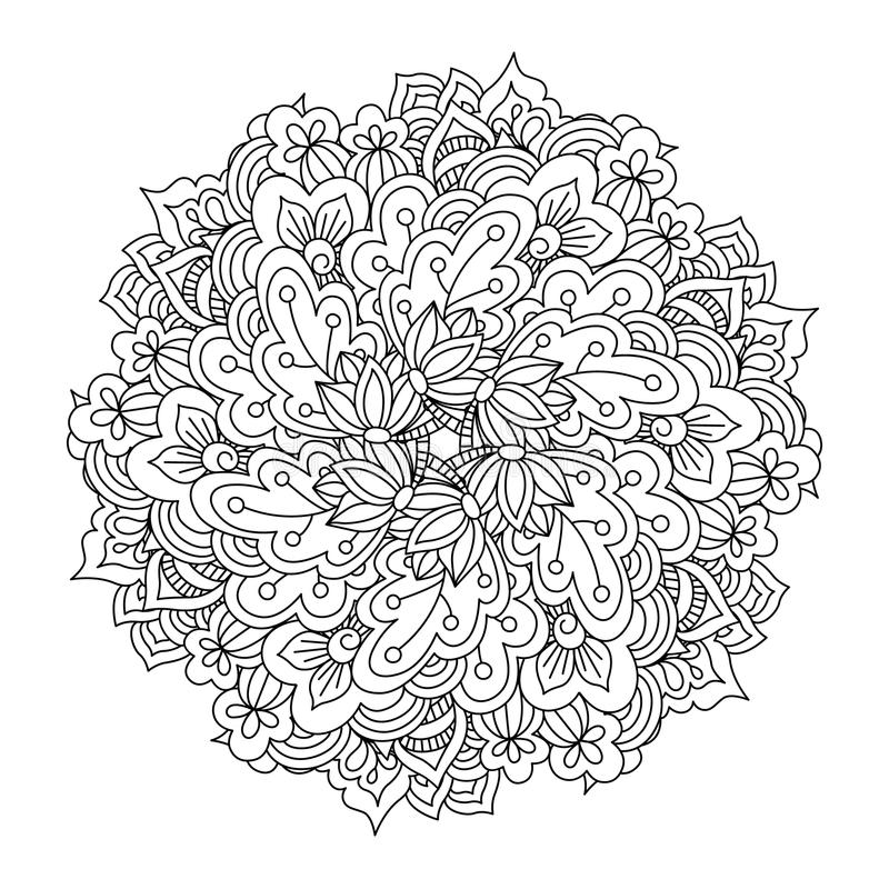Round element for coloring book. Black and white floral pattern. vector illustration
