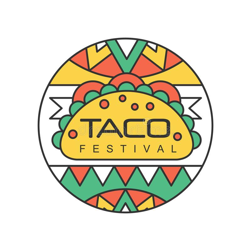 Round emblem with Mexican traditional street food. Taco festival concept. Abstract vector design for logo, badge, label. Round emblem with Mexican traditional