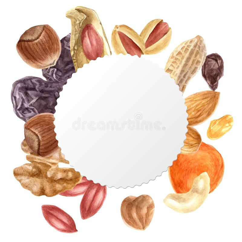 Round emblem with nuts and dried fruits. Round emblem with watercolor nuts and dried fruits vector illustration