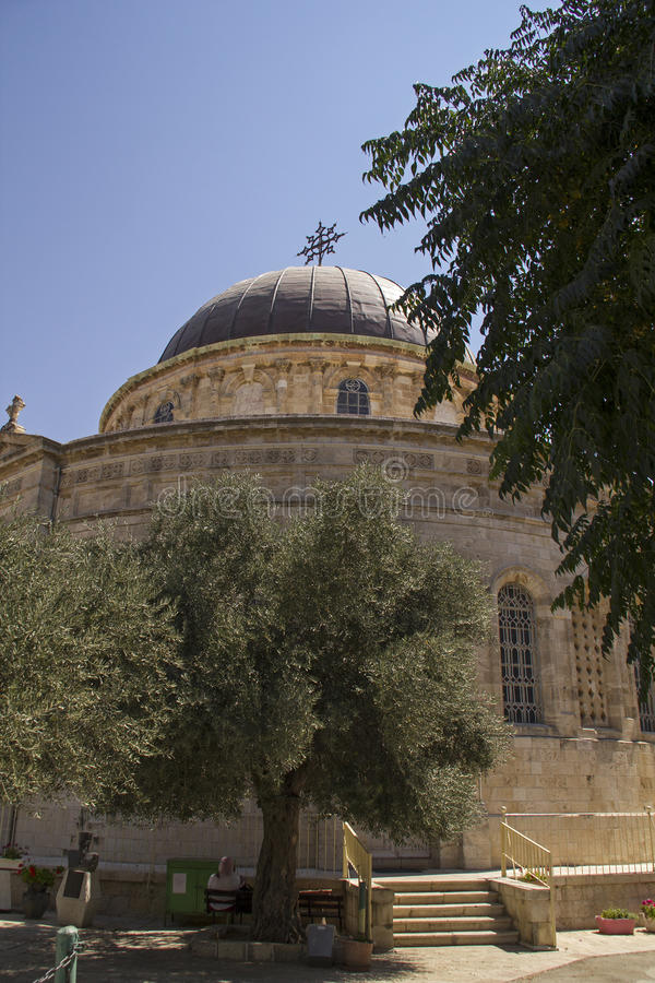 Round Etiopski kościół na Etiopia ulicie w Jerozolima, Izrael zdjęcie stock