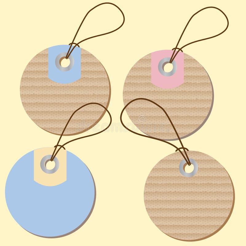 Round etykietek metki z kartonową teksturą ilustracji