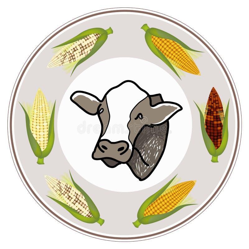 Round etykietka krowa z Świeżą kukurudzą ilustracja wektor