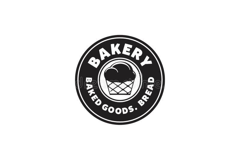Round etykietka, rocznik zaokrąglał piekarnia logo ilustracji
