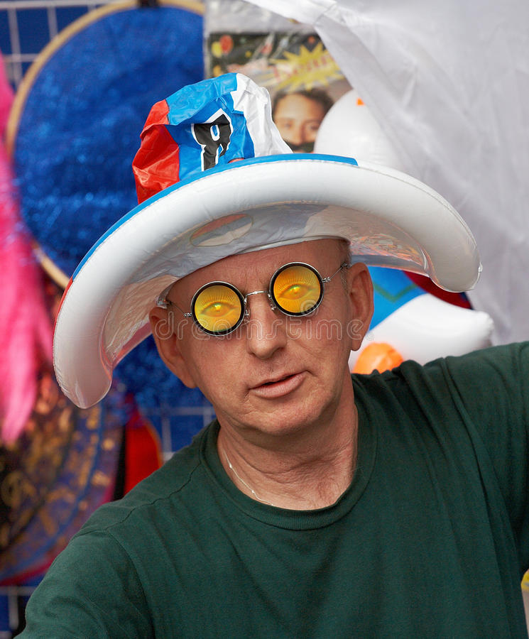 Round-eyed. Russia Kovrov t. street toys seller on festival royalty free stock photo