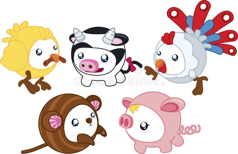 Round Farm Animals vector illustration