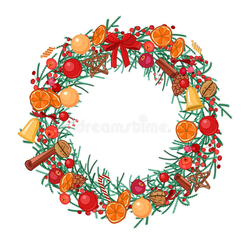 Round festive wreath with fruits, cookies, berries and leaves on white. vector illustration