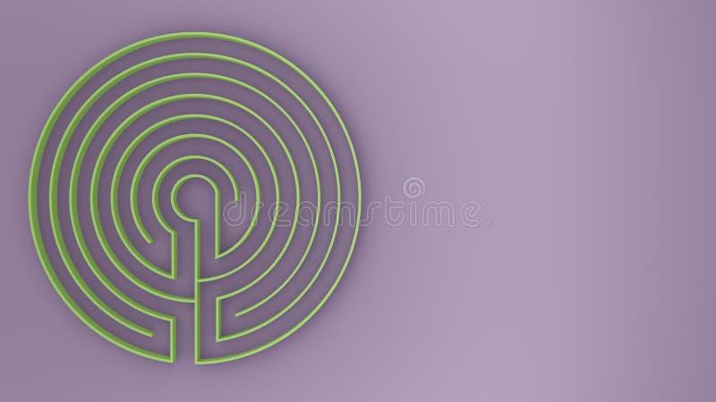 Round fiołka, zieleń labityntu labiryntu gra z i, znajduje sposobu pojęcie, tło pomysł z kopii przestrzenią ilustracja wektor