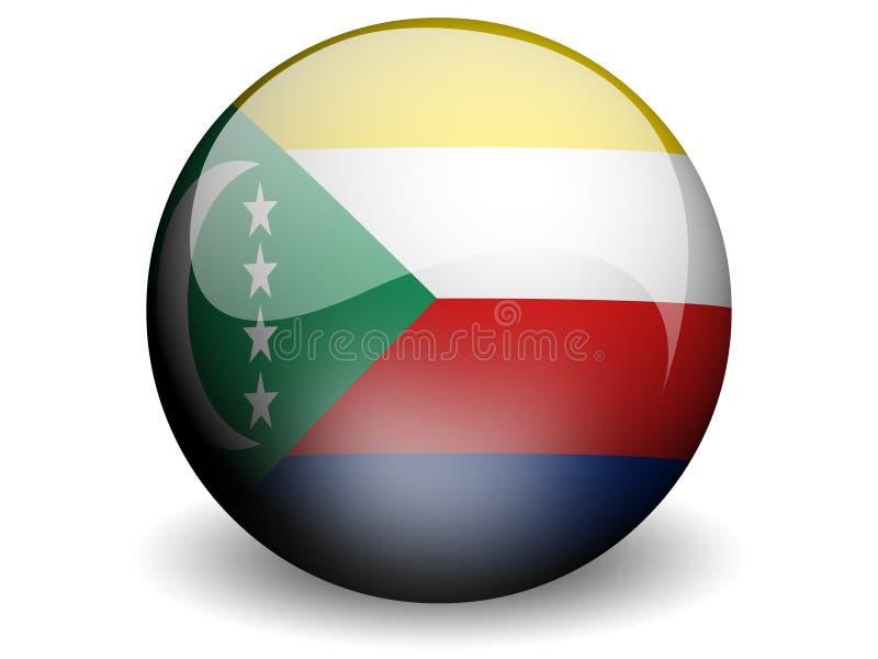 Round Flag of Comoros vector illustration
