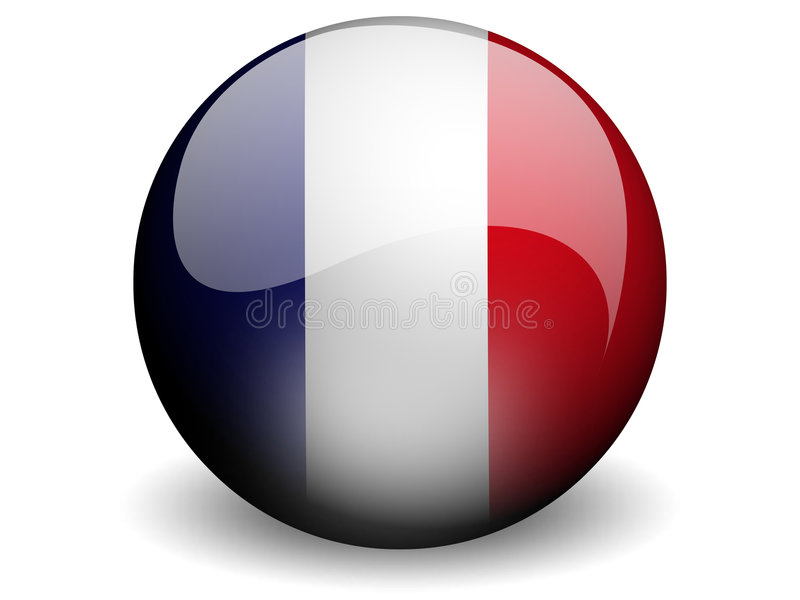 Round Flag of France. With Glossy Effect