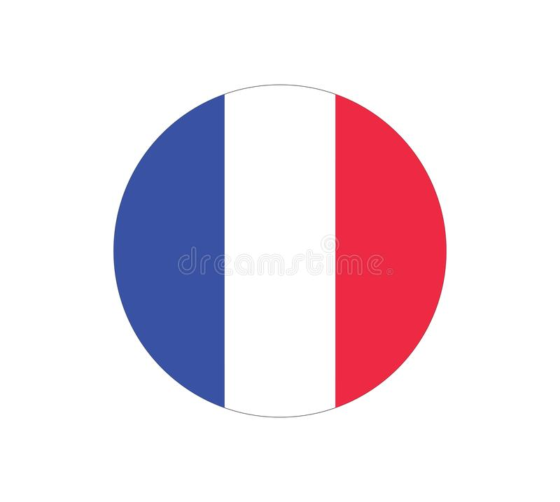 Round Flag of France. France flag vector icon. Flag of France. stock illustration