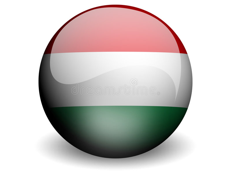 Round Flag of Hungary. With Glossy Effect royalty free illustration
