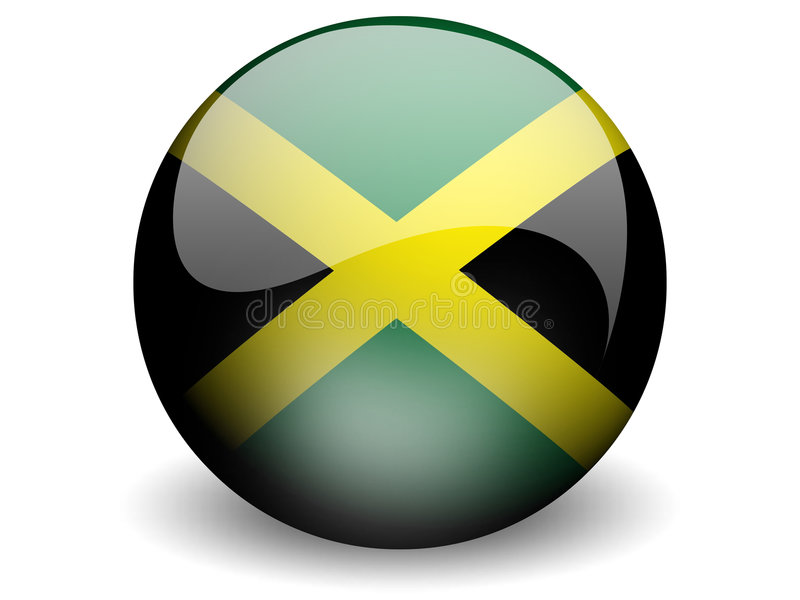 Round Flag of Jamaica. With Glossy Effect vector illustration
