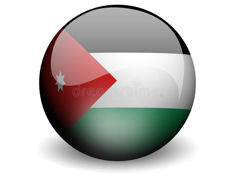 Round Flag of Jordan. With Glossy Effect royalty free illustration