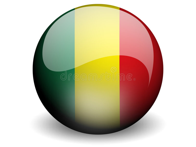 Round Flag of Mali. With Glossy Effect stock illustration