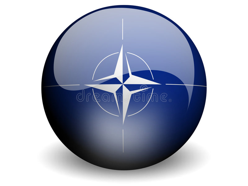Round Flag of Nato. With Glossy Effect stock illustration
