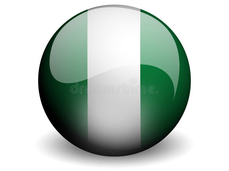Round Flag of Nigeria stock illustration