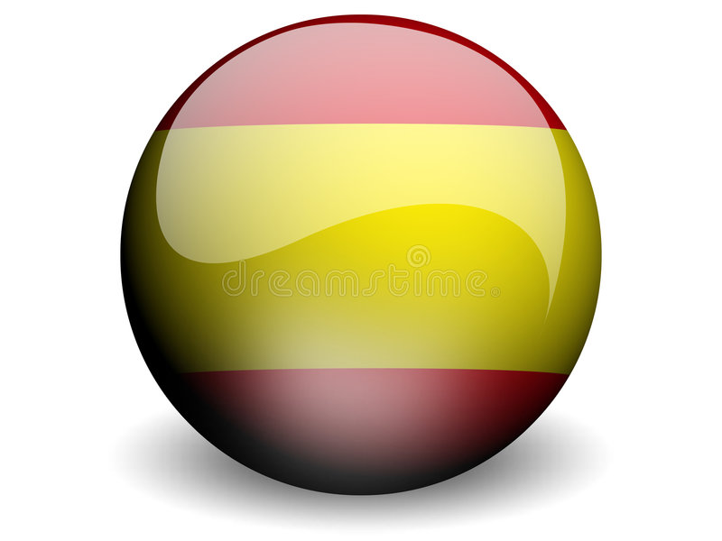 Round Flag of Spain stock illustration