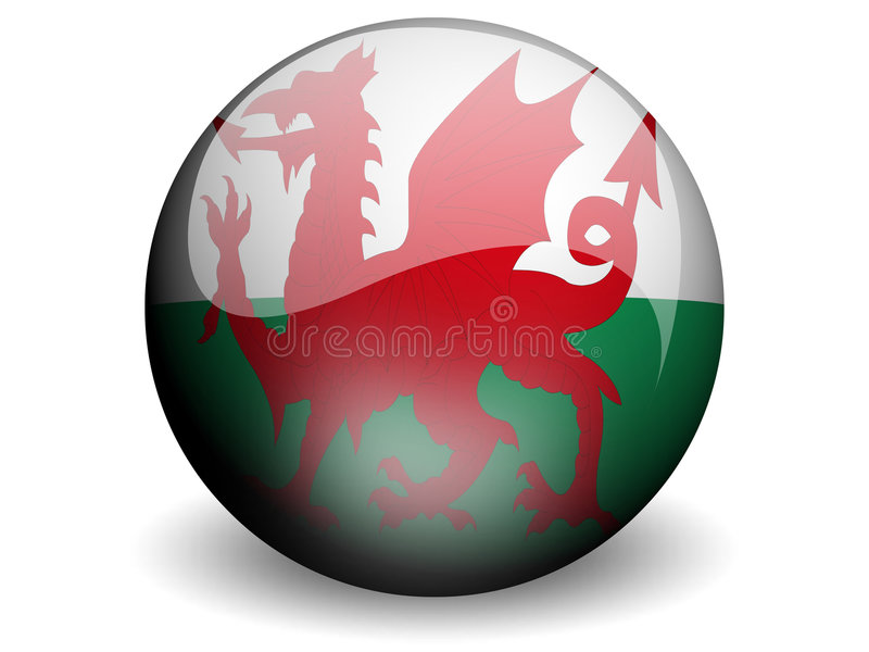 Round Flag of Wales vector illustration