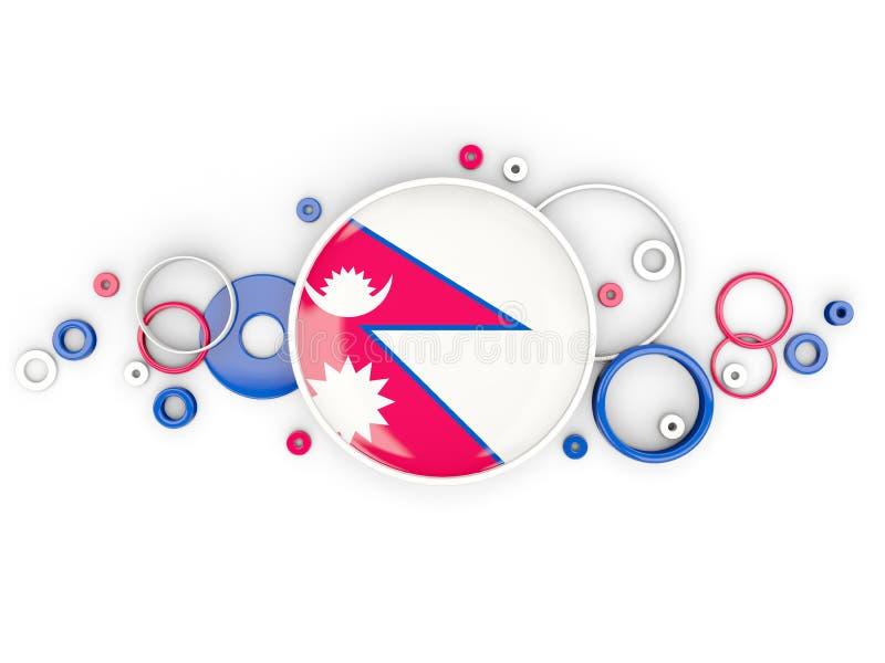 Round flaga Nepal z okręgu wzorem ilustracji