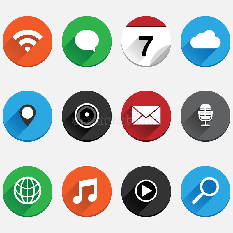 Round Flat App Icon Set royalty free illustration