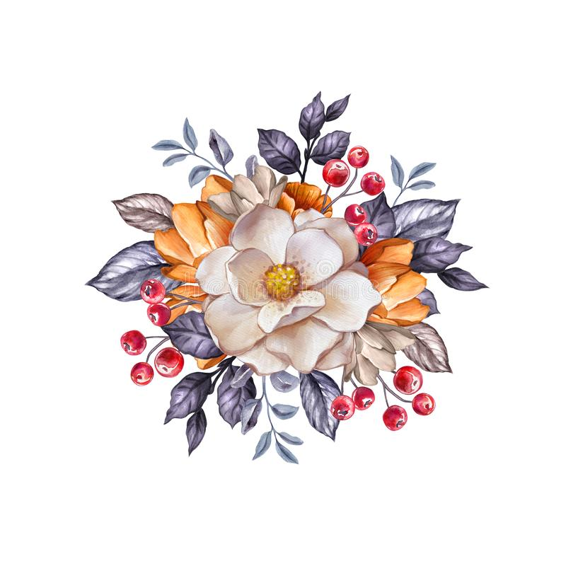 Free Round Floral Bouquet, Autumn Botanical Background, Watercolor Illustration, Clip Art Isolated On White, Fall Bridal Flowers Royalty Free Stock Photography - 156409337