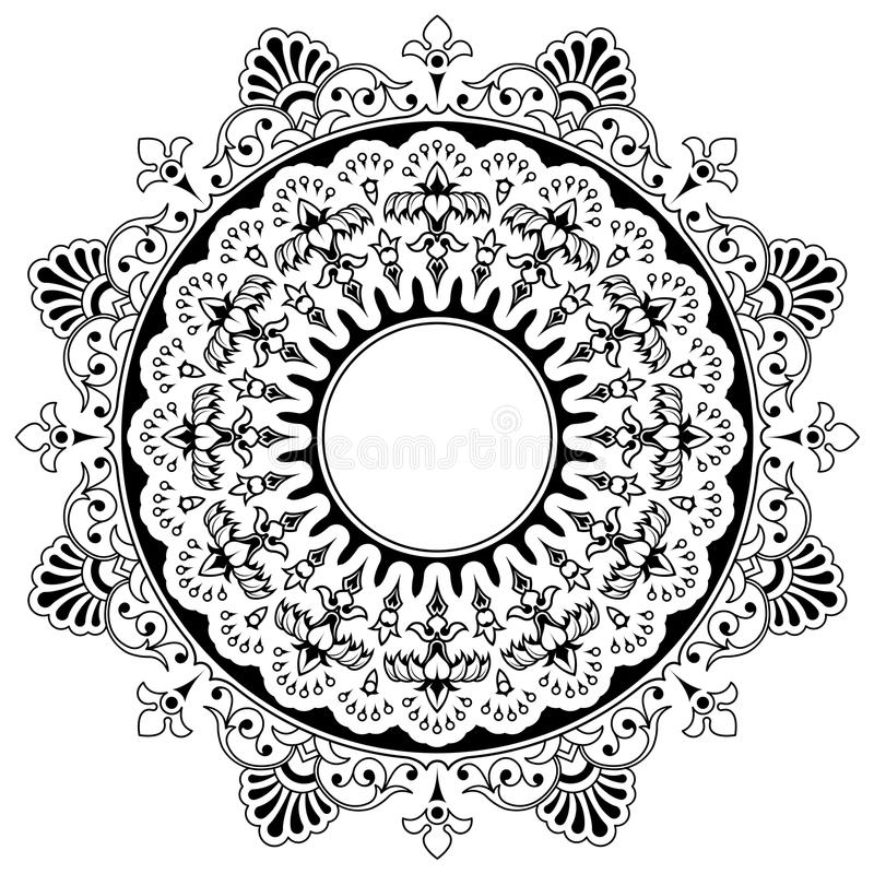 Round floral calligraphic mandala border. Round calligraphic border design element with a central circular blank area for your text surrounded by a double layer stock illustration