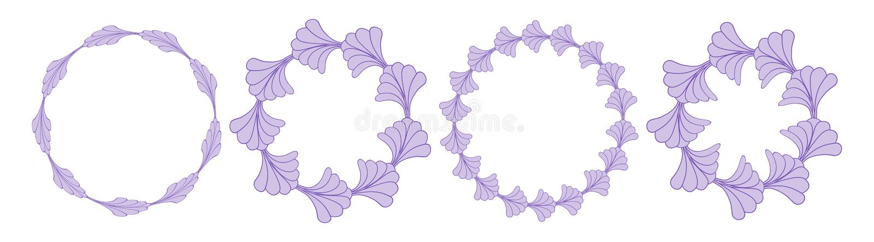 Round Floral Frame Border Background Set Collection. Vector vector illustration
