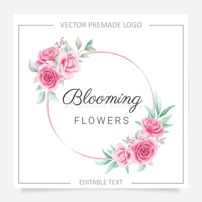 Round floral frame premade logo with blush and burgundy flowers. Editable floral badge for wedding or branding. Vector royalty free illustration