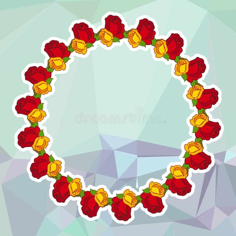 Round floral frame on a square mosaic background. stock illustration