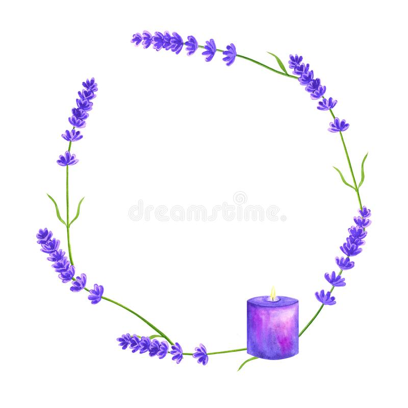 Round floral frame with violet lavender and purple candle. Lavender wreath. Violet template. Watercolor hand drawn illustration. royalty free illustration
