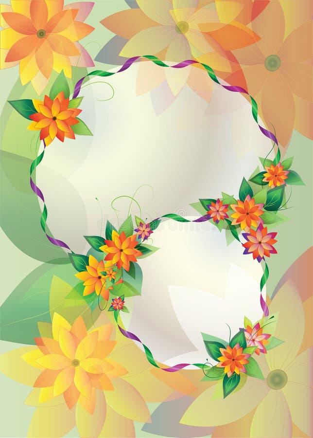 Round floral frames on color background royalty free illustration