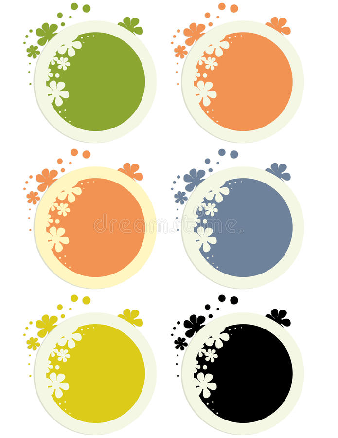Round floral stickers vector illustration